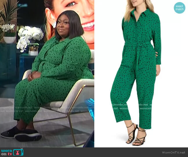 Dot Long Sleeve Jumpsuit by Eloquii worn by Loni Love  on E! News