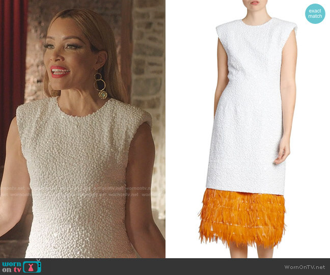 Beaded Feather-Hem Cocktail Dress by Dries Van Noten worn by Dominique Deveraux (Michael Michele) on Dynasty