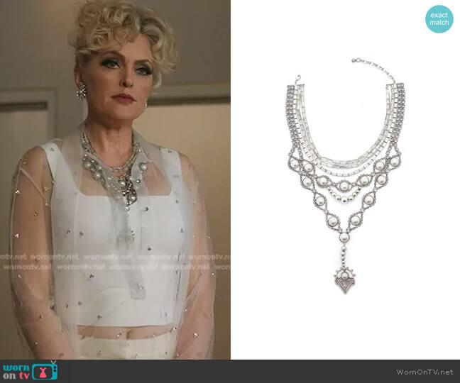 Gigi Statement Bib Necklace w/ Y-Drop by Dylanlex worn by Alexis Carrington (Elaine Hendrix) on Dynasty