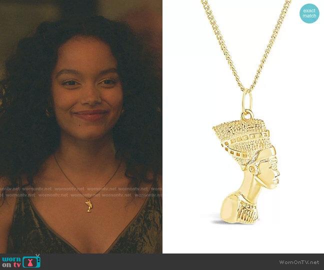 Egyptian Pharaoh Bust Necklace by Sterling Forever worn by Zoya Lott (Whitney Peak) on Gossip Girl