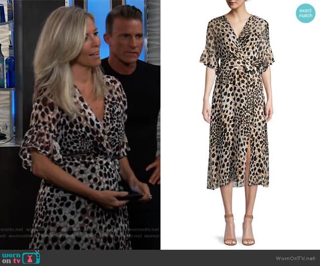 Ava Cheetah-Print Silk Dress by Elie Tahari worn by Carly Corinthos (Laura Wright) on General Hospital