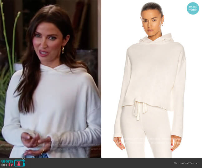 French Terry Cropped Hoodie by Enza Costa worn by Kaitlyn Bristowe  on The Bachelorette
