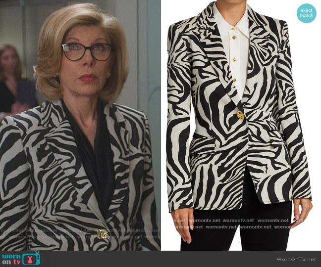 Jacquard Zebra-Print Blazer Jacket by Escada worn by Diane Lockhart (Christine Baranski) on The Good Fight