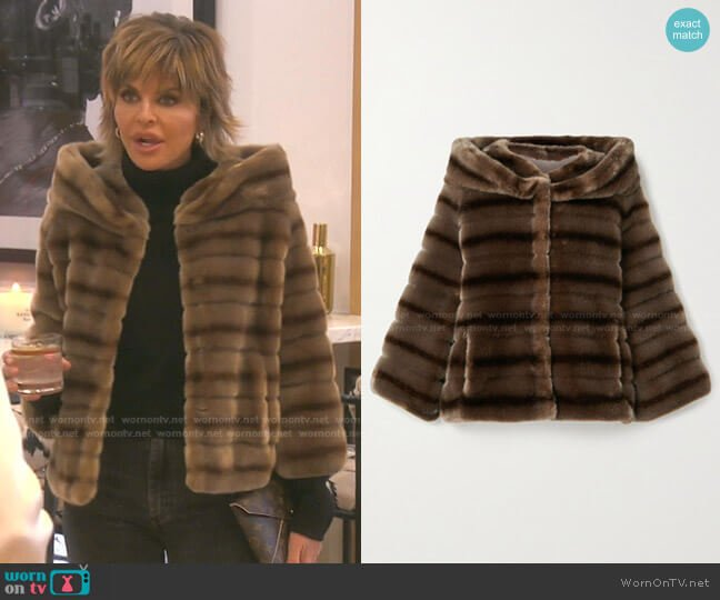 Swinger Striped Faux Fur Jacket In Brown by Faz Not Fur worn by Lisa Rinna  on The Real Housewives of Beverly Hills