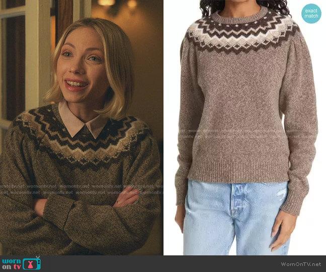 Fair Isle Merino Wool & Cashmere Blend Sweater by Frame worn by Kate Keller (Tavi Gevinson) on Gossip Girl