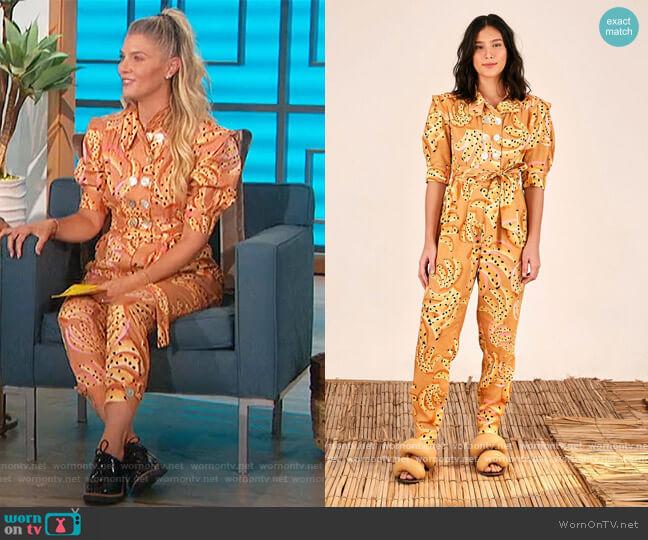 Caramel Raining Bananas Puff Sleeves Jumpsuit by Farm Rio worn by Amanda Kloots  on The Talk