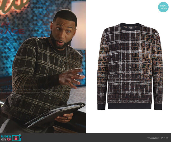 Blurred FF Sweater by Fendi worn by Robert Christopher Riley on Dynasty