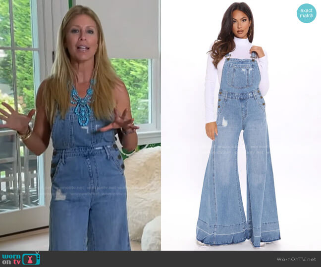 Flare's Nothing To It Palazzo Denim Overalls by Fashion Nova worn by Jill Martin  on Today