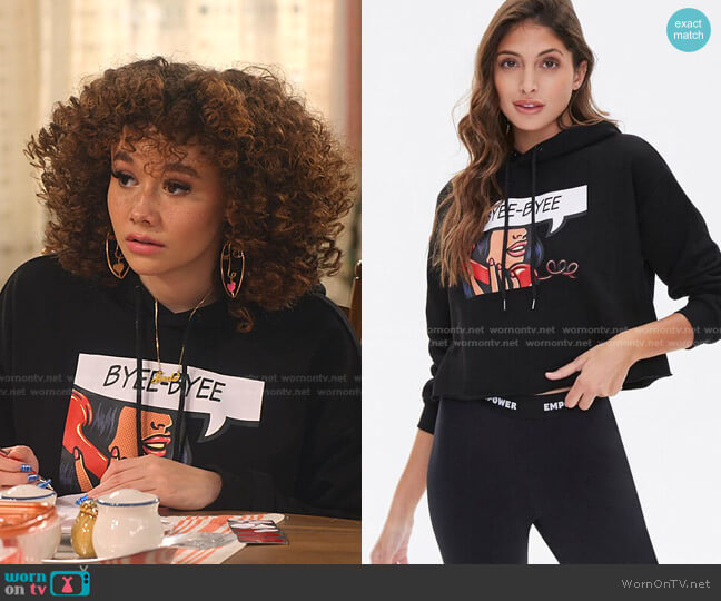 Byee-Byee Graphic Hoodie by Forever 21 worn by Jade (Talia Jackson) on Family Reunion