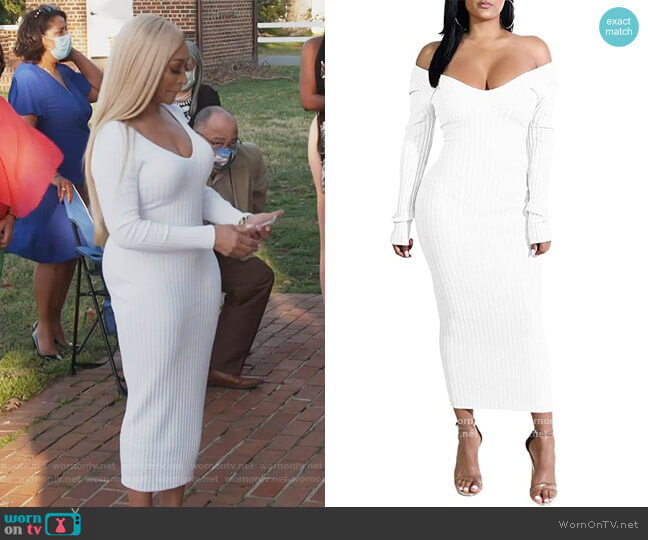 Off Shoulder Knit Sweater Dress by Forlisea worn by Karen Huger  on The Real Housewives of Potomac