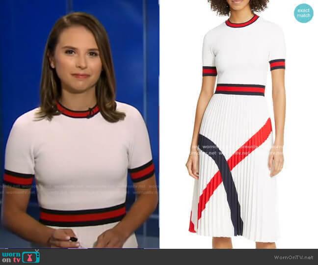 Fynlie Knitted Pleated-Skirt Dress by Ted Baker worn by Elizabeth Schulze on GMA
