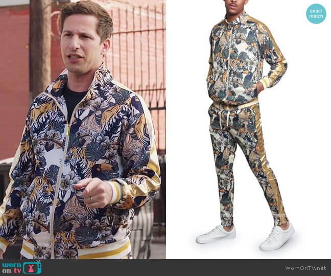 Victorious Royal Floral Tiger Track Suit by G-Style worn by Jake Peralta (Andy Samberg) on Brooklyn Nine-Nine