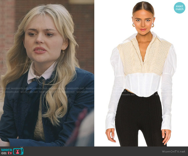 Knit Corset Puff Sleeve Shirt by Danielle Guizio worn by Audrey Hope (Emily Alyn Lind) on Gossip Girl