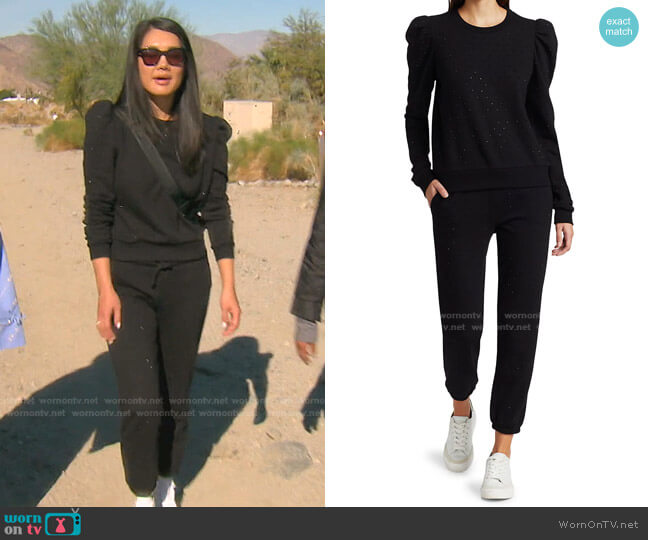 Tara Crystal Sweatshirt and sweatpants by Generation Love worn by Crystal Kung Minkoff  on The Real Housewives of Beverly Hills