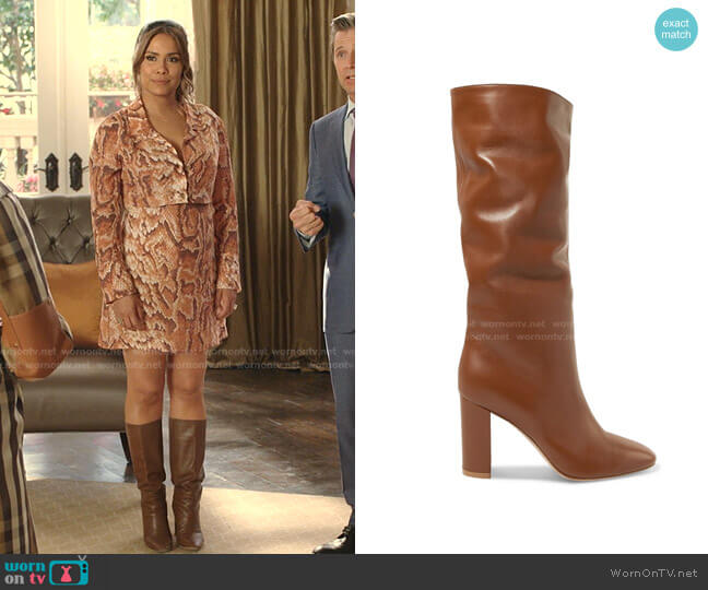 Laura Leather Knee Boot by Gianvito Rossi worn by Cristal Jennings (Daniella Alonso) on Dynasty
