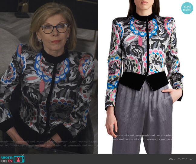 Velvet Contrast Camo & Floral Jacket by Giorgio Armani worn by Diane Lockhart (Christine Baranski) on The Good Fight