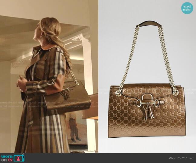 Emily Chain Shoulder Large Bag by Gucci worn by Fallon Carrington (Elizabeth Gillies) on Dynasty