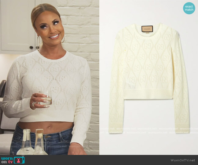 Cropped pointelle-knit wool sweater by Gucci worn by Gizelle Bryant  on The Real Housewives of Potomac