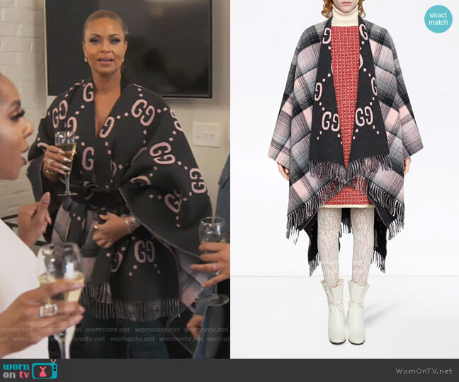 Reversible GG Poncho Coat by Gucci worn by Gizelle Bryant  on The Real Housewives of Potomac