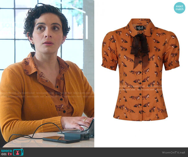 Vixey Fox Print Top by Hell Bunny worn by Maisie Klompu on Good Trouble