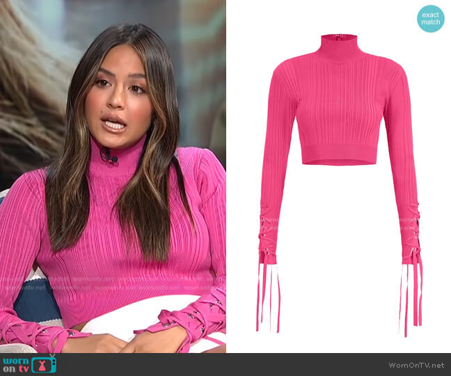 Rib Lace-Up Crop Top by Herve Leger worn by Erin Lim  on E! News