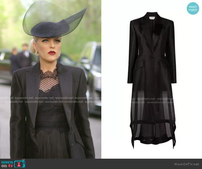High-Low Sheer Wool-Silk Jacket by Alexander McQueen worn by Alexis Carrington (Elaine Hendrix) on Dynasty