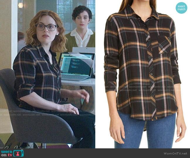 Hunter Shirt in Midnight Teal / Mustard by Rails worn by Rachel Rosenbloom on Good Trouble