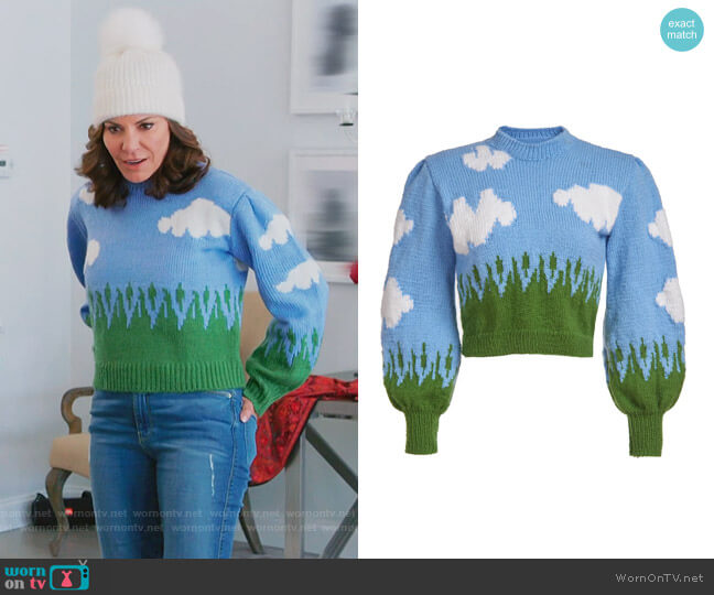 Clouds Knit Sweater by Liriki Matoshi worn by Luann de Lesseps  on The Real Housewives of New York City