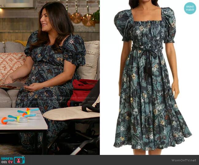 Iliana Puff Sleeve Midi Dress by Ulla Johnson worn by Adrianna Brach on Today