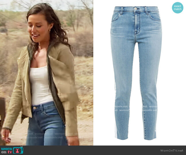 Alana cropped striped mid-rise skinny jeans J Brand worn by Katie Thurston  on The Bachelorette