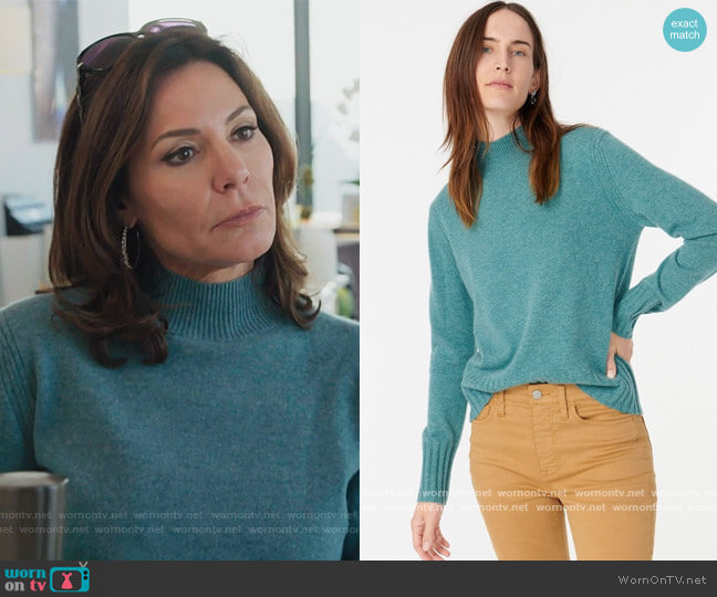 Mockneck Sweater in Bright Harbour by J. Crew worn by Luann de Lesseps  on The Real Housewives of New York City