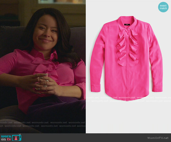 Collection ruffle-front blouse in Re-Imagined Silk by J. Crew worn by Mariana Foster (Cierra Ramirez) on Good Trouble