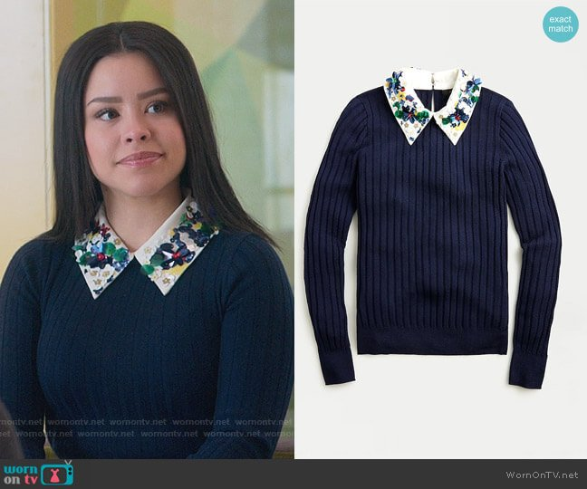 Limited-edition ribbed Tippi sweater with embellished collar by J. Crew worn by Mariana Foster (Cierra Ramirez) on Good Trouble