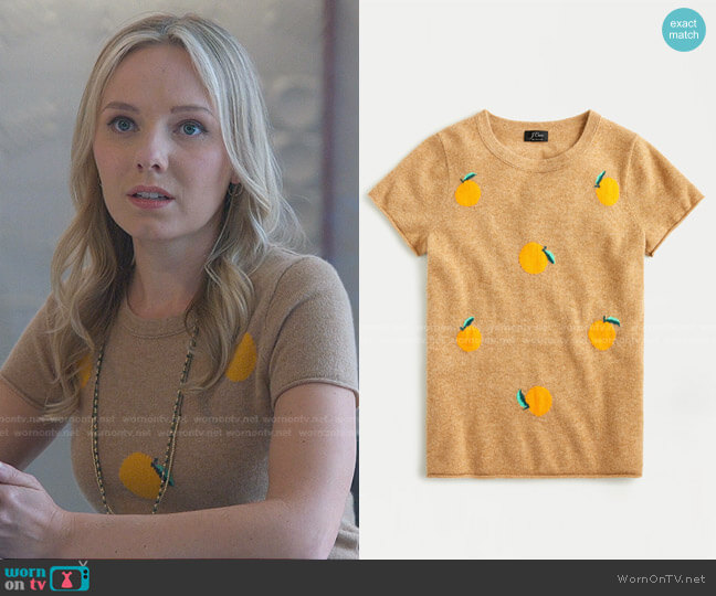 Short Sleeve Cashmere Tee in Oranges by J. Crew worn by Seri DeYoung on Good Trouble