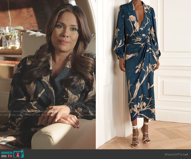 NET SUSTAIN From The Heart Wrap-Effect Printed Bodysuit and Skirt by Johanna Ortiz worn by Cristal Jennings (Daniella Alonso) on Dynasty
