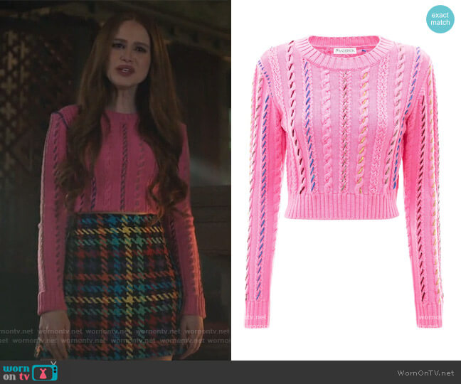 Cropped darning crewneck jumper by JW Anderson worn by Cheryl Blossom (Madelaine Petsch) on Riverdale
