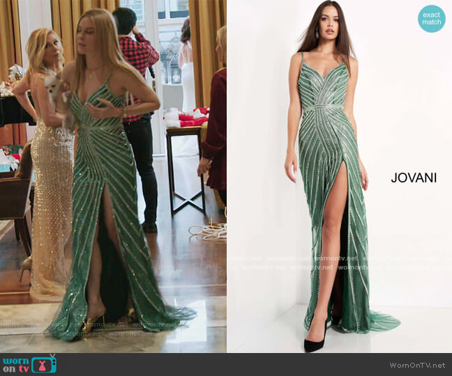 Green High Slit Embellished Evening Dress by Jovani worn by Leah McSweeney  on The Real Housewives of New York City