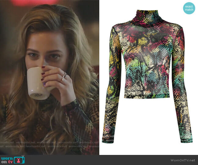 Abstract-Print High Neck Top by Just Cavalli worn by Betty Cooper (Lili Reinhart) on Riverdale