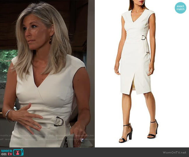 Cap Sleeve Faux-Wrap Dress by Karen Millen worn by Carly Corinthos (Laura Wright) on General Hospital