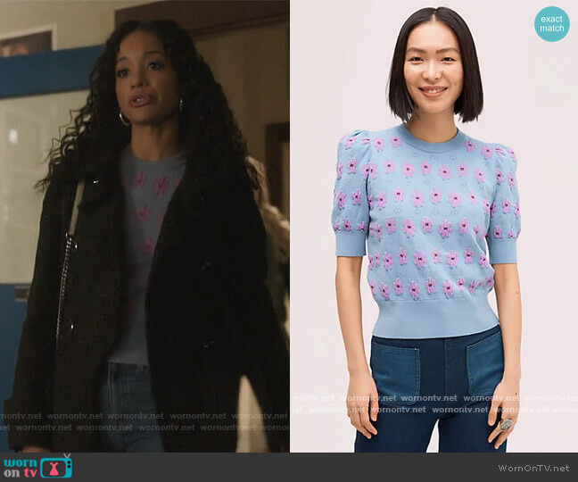 Marker Floral Sweater by Kate Spade worn by Erinn Westbrook on Riverdale