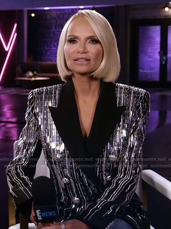 Kristin Chenoweth's sequin double breasted blazer on E! News Daily Pop