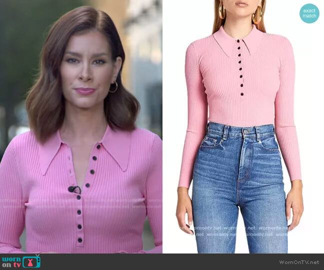 Lance Polo Top by A.L.C. worn by Rebecca Jarvis  on Good Morning America
