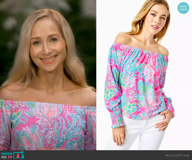 Lana Off-The-Shoulder Top by Lilly Pulitzer worn by Dr. Whitney Bowe on GMA