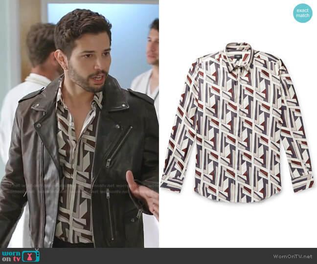 Logo-Print Silk-Twill Shirt by Fendi worn by Sam Flores (Rafael de la Fuente) on Dynasty