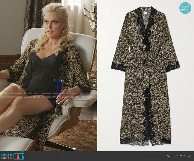 Greta Lace-Trimmed Leopard-Print Silk-Georgette Robe by Loretta Caponi worn by Alexis Carrington (Elaine Hendrix) on Dynasty