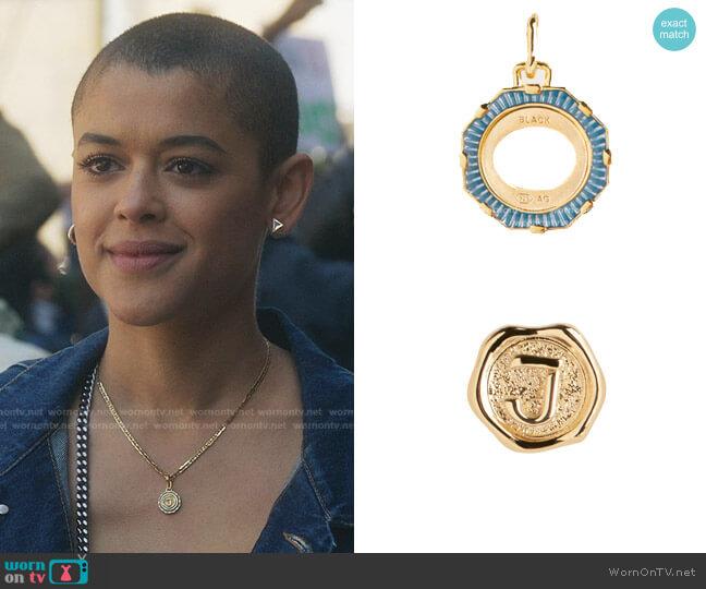J Letter Coin and Yasmeen Ocean Charm by Maria Black worn by Julien Calloway (Jordan Alexander) on Gossip Girl