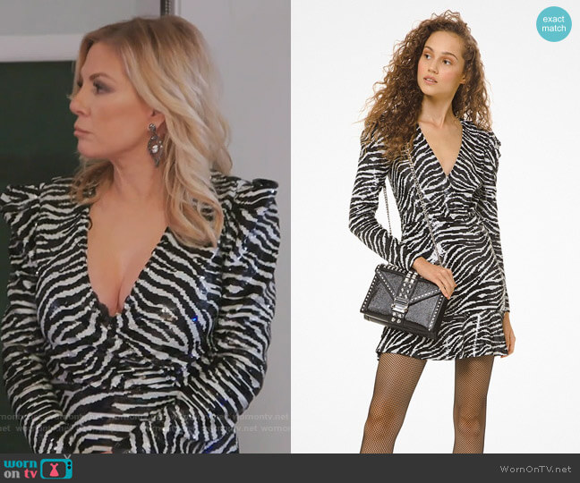 Tiger Sequined Flounce Dress by Michael Kors worn by Ramona Singer  on The Real Housewives of New York City