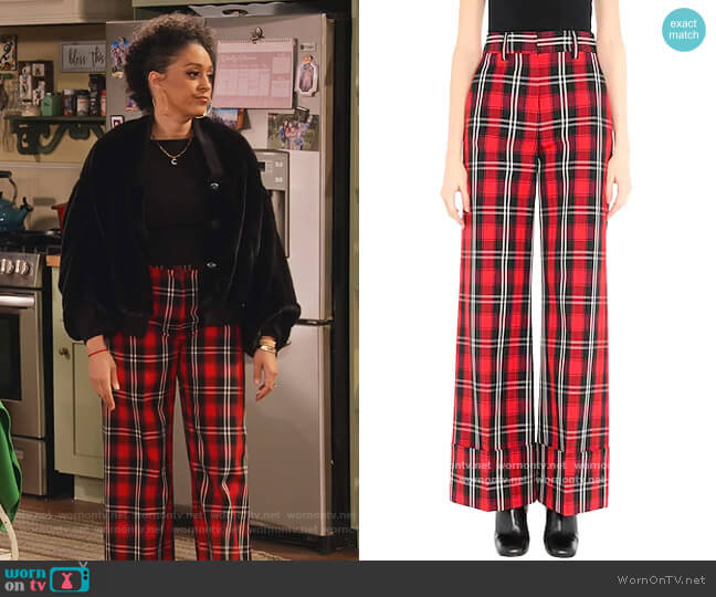 Casual pants by MSGM worn by Cocoa McKellan (Tia Mowry-Hardrict) on Family Reunion