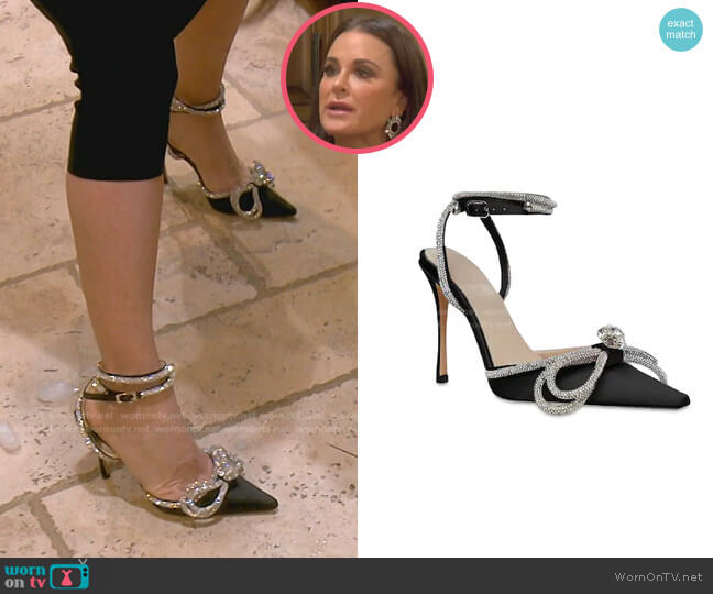 Double Bow Silk Satin Pumps by Mach & Mach worn by Kyle Richards  on The Real Housewives of Beverly Hills