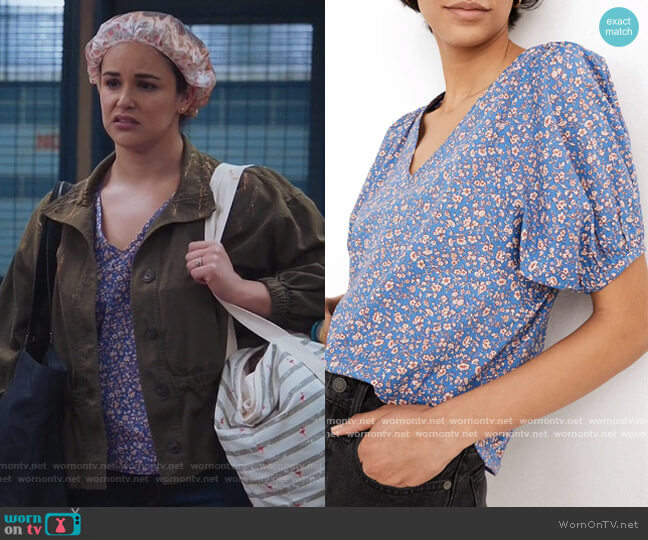 Cassidy Puff Sleeve Top by Madewell worn by Amy Santiago (Melissa Fumero) on Brooklyn Nine-Nine